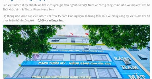 Hệ thống nha khoa Lạc Việt: Quảng cáo hoành tráng nhưng tồn tại hàng loạt vi phạm trong khám chữa bệnh