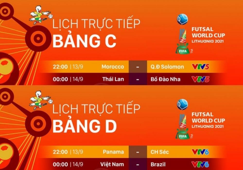 Lịch thi đấu Futsal World Cup 2021 hôm nay: Việt Nam đấu Brazil, Thái Lan gặp Bồ Đào Nha