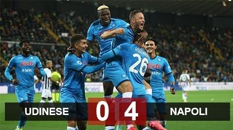Kết quả Udinese 0 - 4 Napoli: Chiếm ngôi đầu bảng
