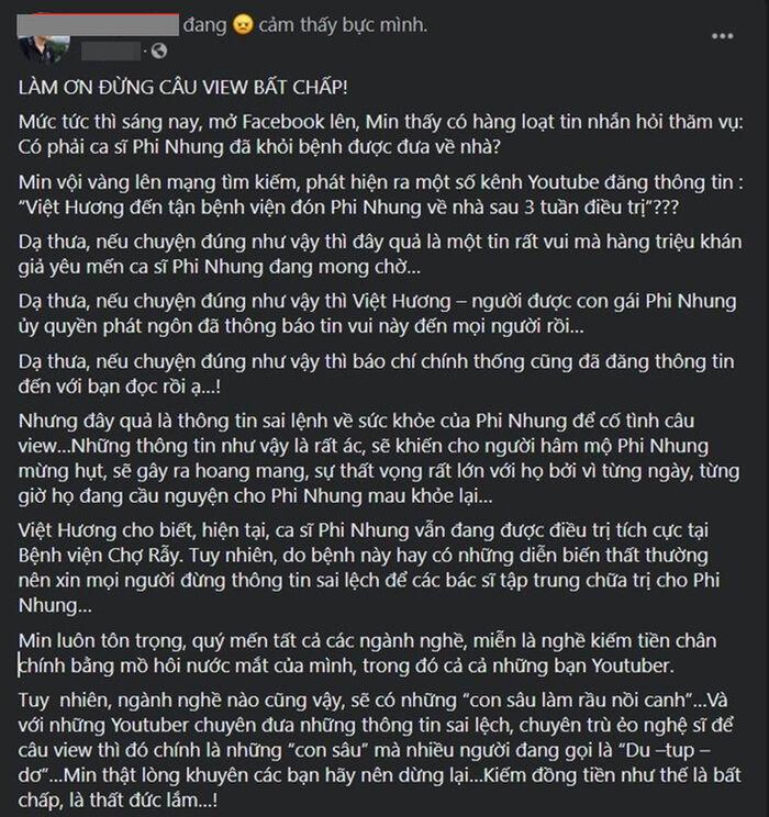 Thực hư tin đồn Việt Hương đón Phi Nhung khỏi bệnh xuất viện?