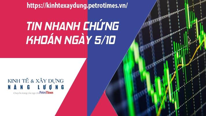 Tin nhanh chứng khoán ngày 5/10: VN Index nhẹ nhàng vượt qua mốc 1.350 điểm