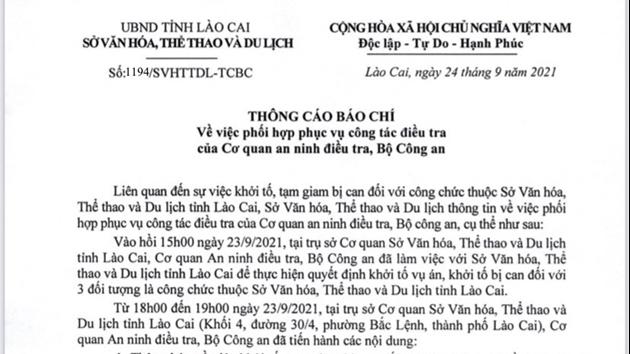 Khởi tố 3 cán bộ Sở Văn hóa, Thể thao và Du lịch Lào Cai